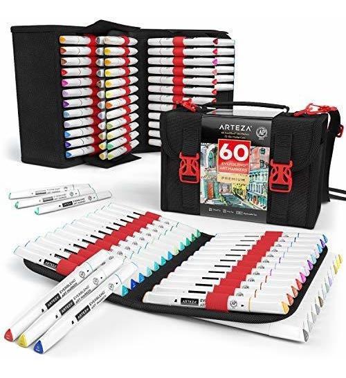 Set Marcadores Punta Doble 60 Colores Y Estuche Organizador