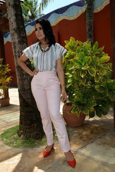 Blusa Listrada Rosê Cinza E Branca Com Gola Média - 90544