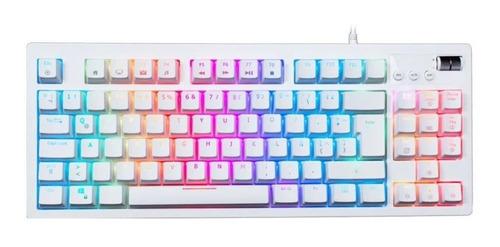 Imagen 1 de 2 de Teclado gamer VSG Quasar RGB QWERTY Outemu Brown - Tactile español latinoamérica color blanco con luz RGB