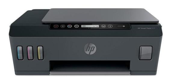 Impressora a cor multifuncional HP Smart Tank 517 com wifi 110V/220V cinza e preta