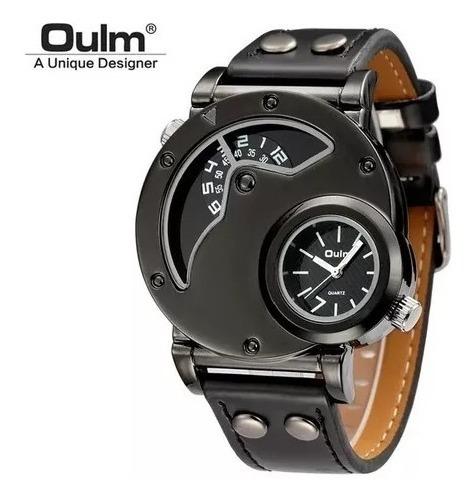 Relógio Pulso Masculino 2 Fusos Horários Preto Oulm