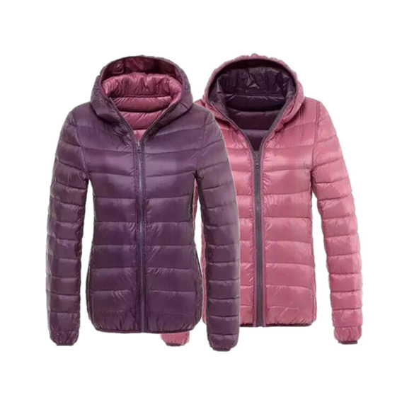 Campera Mujer Pluma Inflable Capucha Reversible Sin Cargo