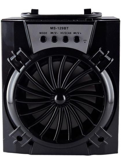 Caixa De Som Portátil Bluetooth Radio Fm 8w Ms-129bt Preto