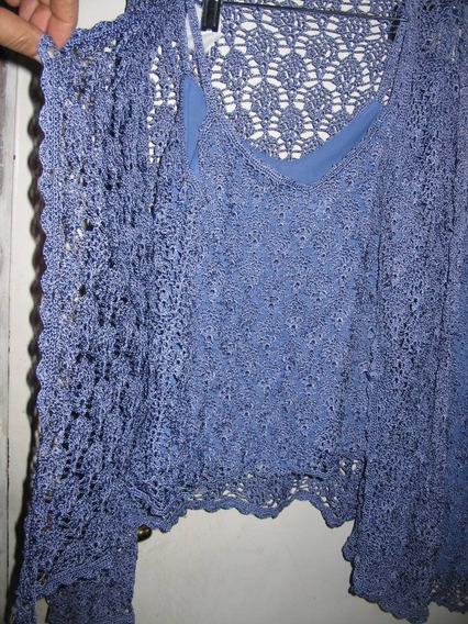 Conjunto 3 Piezas Lila Falda Saco Ml Crochet Hilo Seda Zara