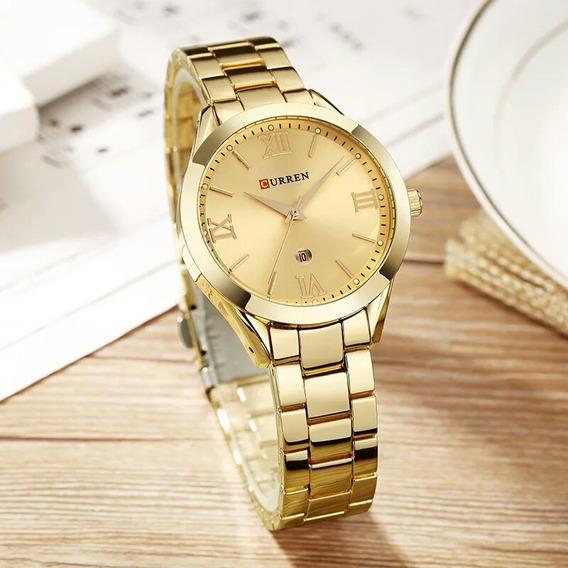 Relógio Curren Feminino 9007 Quartzo Aço Inoxidável Dourado