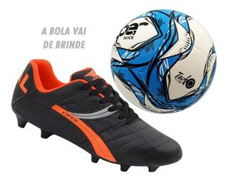 Chuteira Futebol Campo Couro Sola Costurada + Bola De Brinde