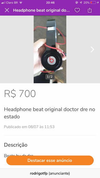 Headphone Beats Dr Dre Original Usado
