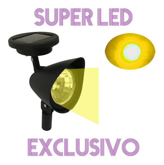 Refletor Luminária Solar Spot Super Led Luz Jardim Grama