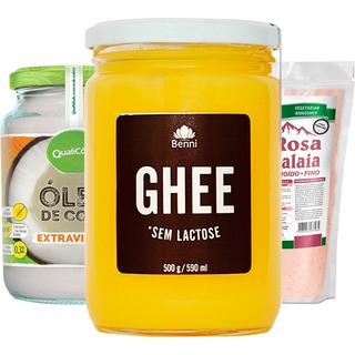 Kit Manteiga Ghee + Óleo De Coco + Sal Benni E Qualicoco