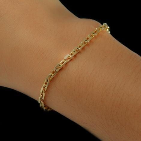 Pulseira Ouro 18k Masculina Maciça Cadeado 21cm F/grati