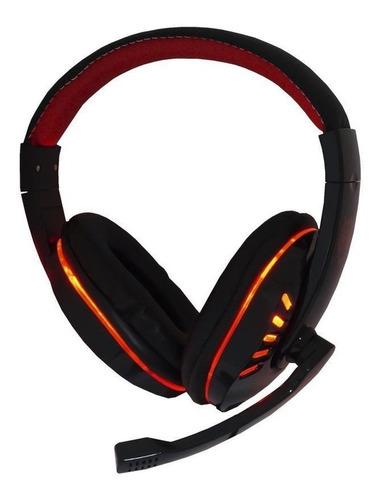 Fone de ouvido gamer Exbom HF-G310P4 preto e vermelho com luz LED