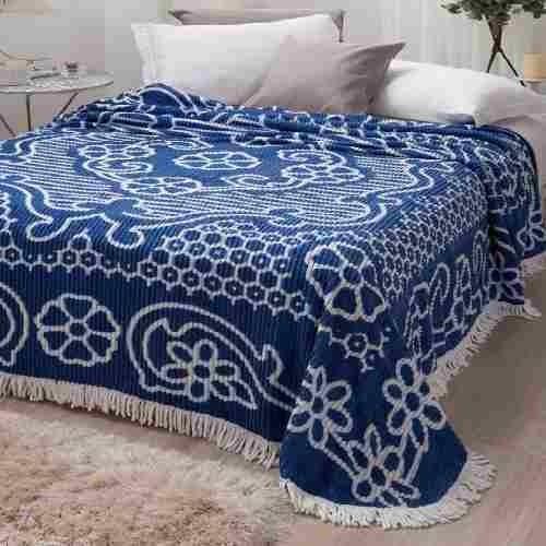 Colcha Chenille Jolitex Casal Com Franja 2,20x2,40m Azul