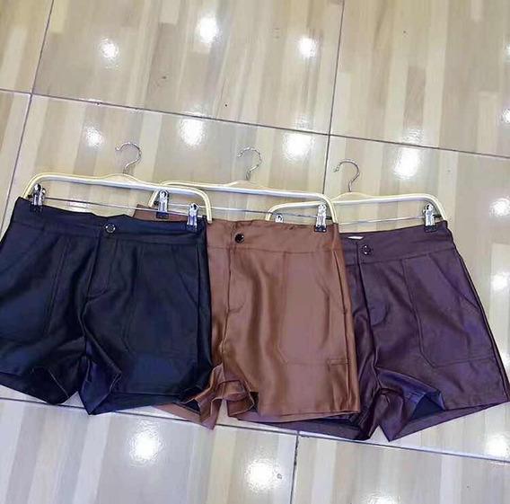 Shorts Couro Feminino Cintura Alta Com Botões Importado
