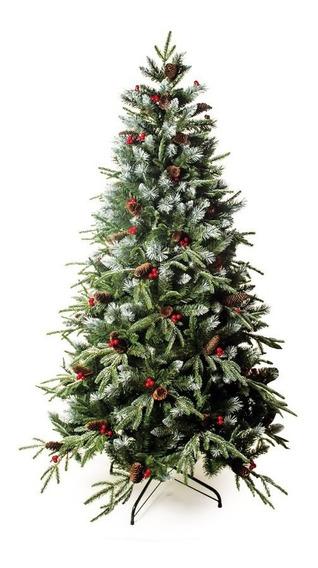 Árvore De Natal Nevada C/cerejas E Pinhas 180cm 1555 Hastes