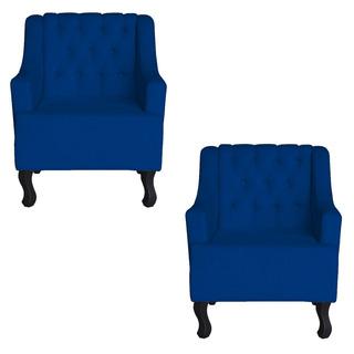 Kit 02 Cadeira Poltrona Escritorio Recepção Dante Azul Escur