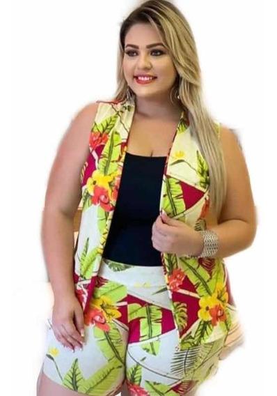 Conjunto Plus Size Kimono Estampado Shorts E Colete Cardigan