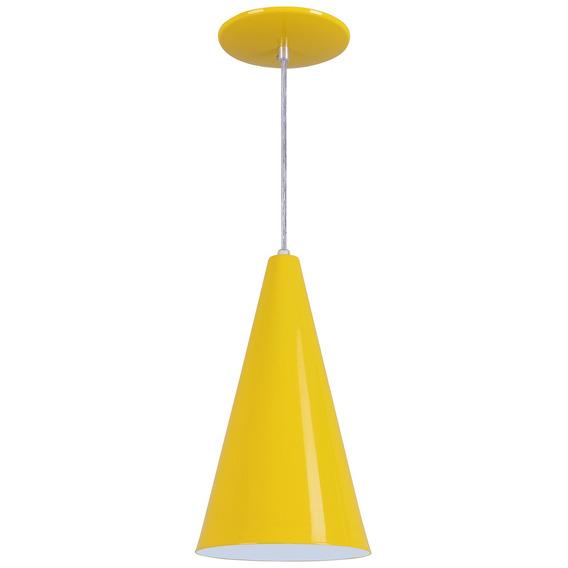 Pendente Cone Luminária Em Alumínio - Amarelo