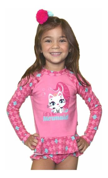 Conjunto Praia Infantil Camiseta E Calcinha Gata Sereia Rosa