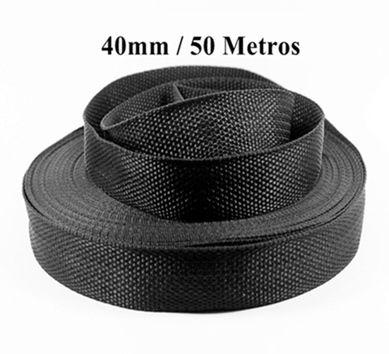 Alça Fita Nylon Preta 50 Metros 40mm (4cm) Promoção