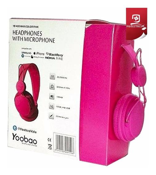 Audifono Yoobao C/ Microfono Stereo Yb-400 Pink Grey O Black