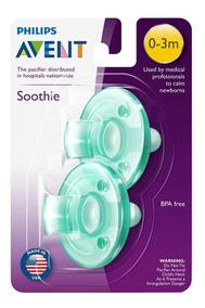 Kit Chupeta Avent Soothie Philips Calmante 0-3m Verde