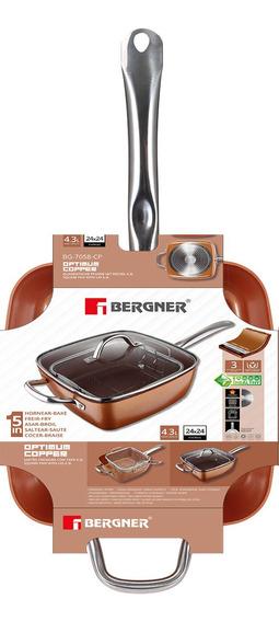Sarten Cuadrada 24cm Tapa Vidrio Copper Bergner Bg-7058-cp