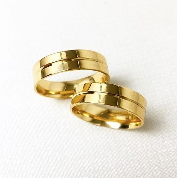 Par De Aliança Em Ouro 18k Santorini