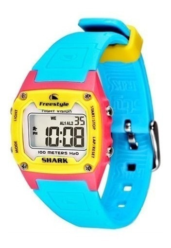 Relógio Shark Classic - Azul/rosa/amarelo