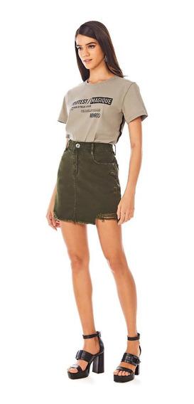 Saia Morena Rosa Curta Five Pockets Color Verde 10000204761