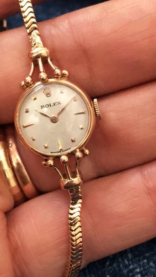 Relógio E Pulseira Rolex Em Ouro 18k Maciço Com 2 Coroas