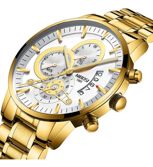 Relógio Masc Nibosi 2309 Aço Dourado Fundo Branco Novo