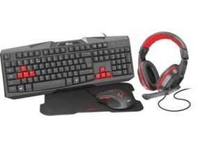 Kit Gamer Trust Teclado E Mouse Com Headset-mouse Pad Ziva
