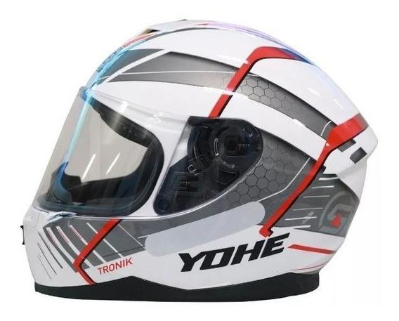 Capacete Motociclista Yohe New Race Tronik Vermelho/branco