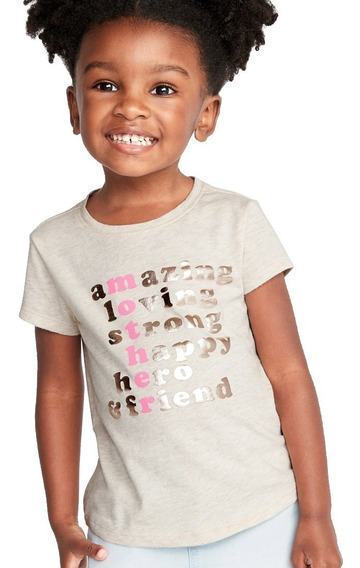 Playera Niña Manga Corta Estampada Al Frente 392971 Old Navy