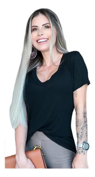 Blusa Feminina Podrinha Camiseta Gola V Feminina Moda Verão