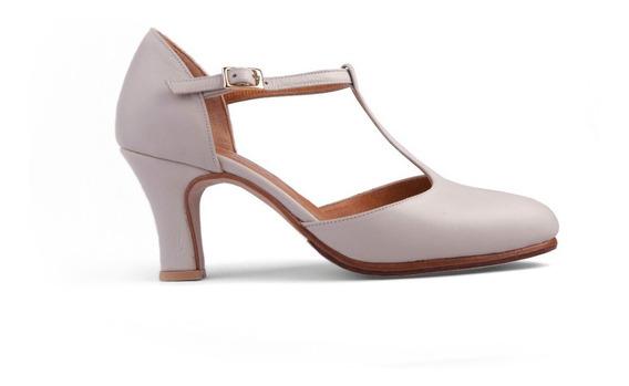 Zapatos De Tango - Folklore Beige Cerrados