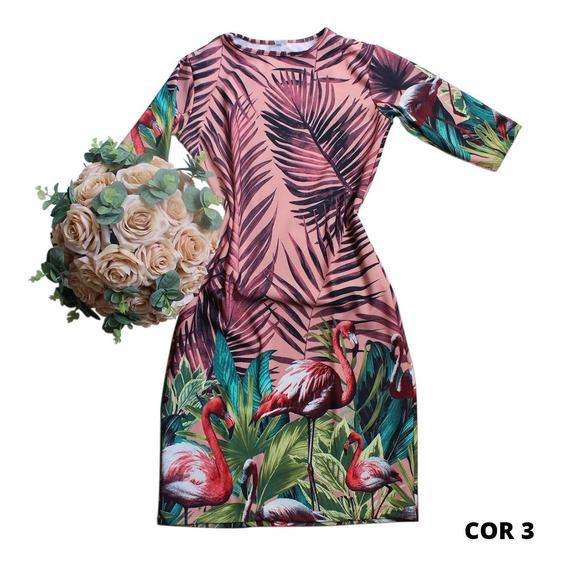 Vestidos Tubinho Midi Floral Moda Cristã Evangélica 2723