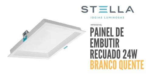 Painel Led Embutir Stella 24w Deep Recuado 3000k Sth8904