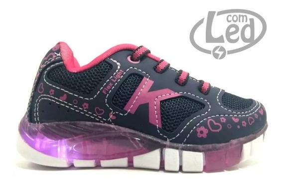 Tênis Infantil Menina Kidy 0201102 Rosa Com Led Luz Original