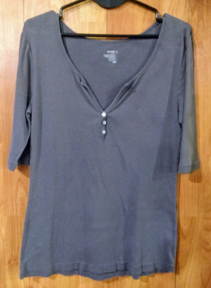 Remera Mangas 3/4 Old Navy Gris Talle L