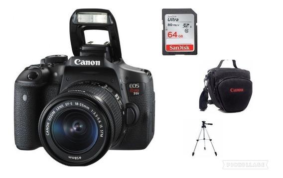Câmera Canon T6i C/18-55+64gb+bolsa+tripé