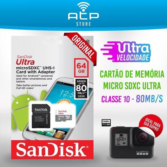 Cartão Micro Sd Ultra Classe 10 64gb 48mb/s Original