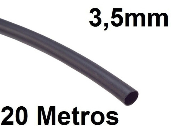Espaguete/tubo Termo Retrátil Isolamento 3,5mm Preto 20 Mts