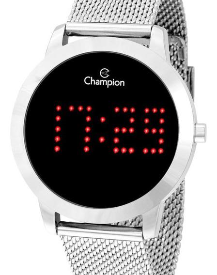 Relógio Digital Champion Feminino Prata Pulseira Ajustável