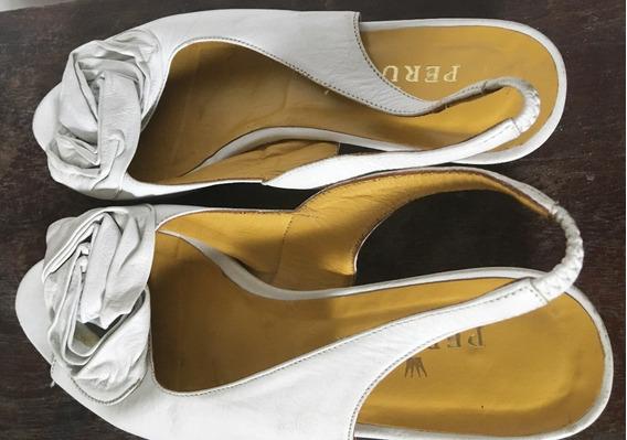 Zapato Sandalia Mujer Perugia T.36 Blanco Impecable Cuero