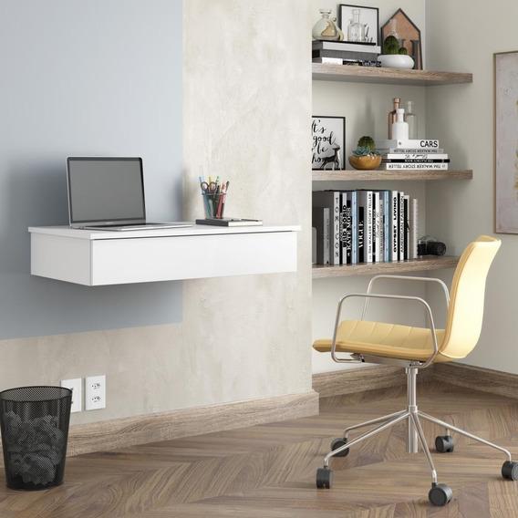 Escrivaninha Mesa P/ Computador Camarim Suspensa Branco