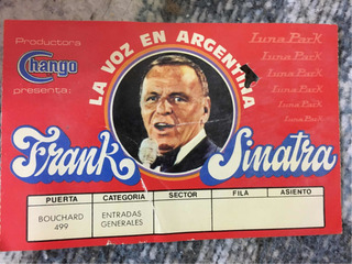 Original Entrada A Frank Sinatra 1981 Luna Park