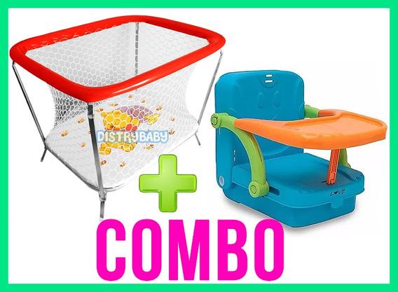 Silla De Comer Bebe Booster 3 Funciones + Corralito Bebe