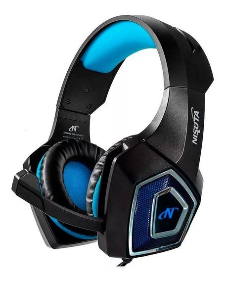 Auriculares gamer Nisuta NSAUG350 negro y azul