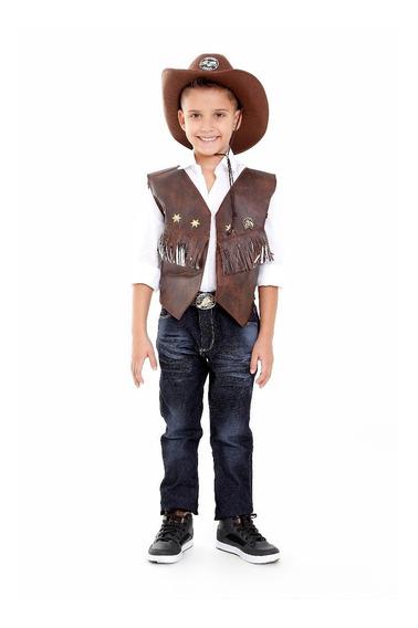 Colete Cowboy Com Chapeu , Camisa E Cinto Menino Ou Menina